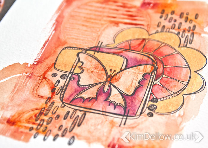 more of the texture on the Layered and textured art journal page by Kim Dellow