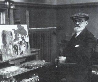 Pedro Figari pintando un cuadro. Imagen en blanco y negro.