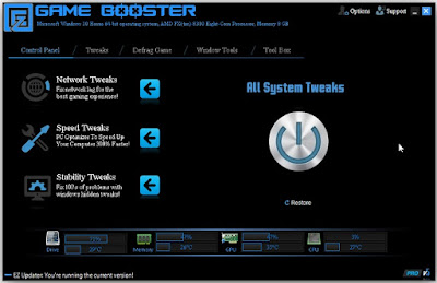 EZ Game Booster is a piece of software that allows you to enjoy an enhanced gaming experience by rearranging computer resource usage and turning off unnecessary applications running the background and that could clog your system.
