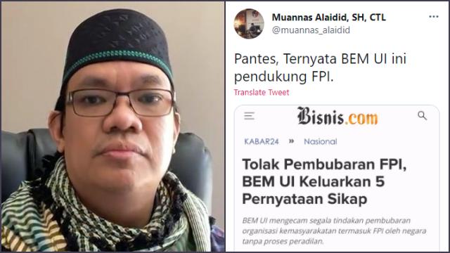 BEM UI Disebut Pendukung FPI Usai Kritik Jokowi, Gus Nadir Geram: Lompatan Logika yang Gak Pas!