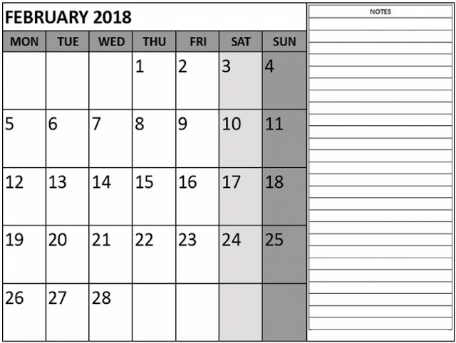 free February 2018 Calendar, February 2018 Calendar Printable, February 2018 Printable Calendar, February 2018 Holiday Calendar, February 2018 Weekly Calendar, February Calendar 2018