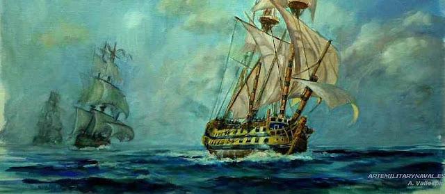 Pintura al oleo del Glorioso perseguido por barcos britanicos