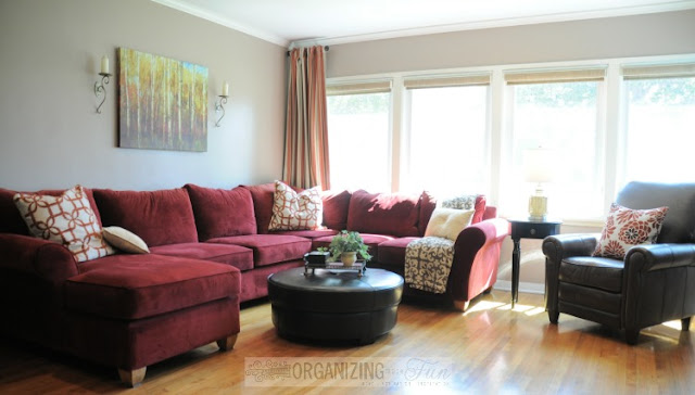 Living Room with red couch :: OrganizingMadeFun.com