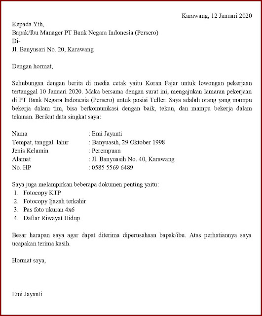 Contoh Surat Application Letter Posisi Teller
