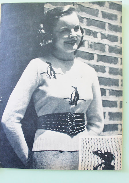 free 1940s penguin sweater knitting pattern