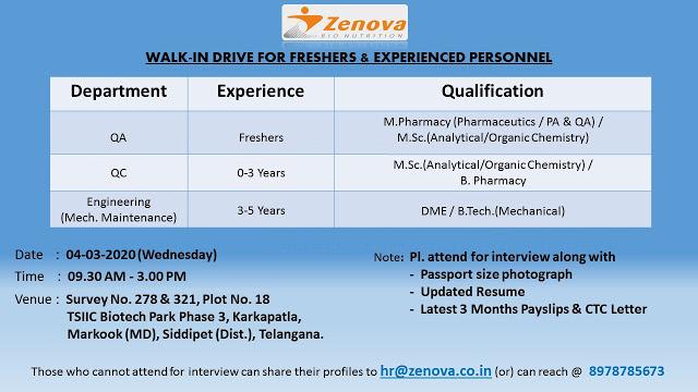 Zenova Bio Nutrition Pvt. Ltd – Walk-In Drive for Freshers & Experienced – QA / QC / Engineering on 4th Mar' 2020