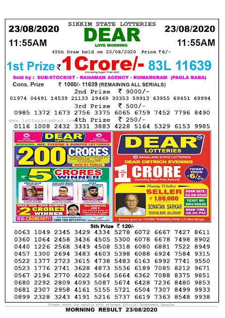 Sikkim State Lottery Sambad 23-08-2020 Today Result 11.55 AM