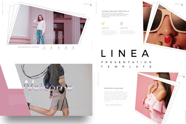 LINEA Fashion Lookbook PowerPoint Template