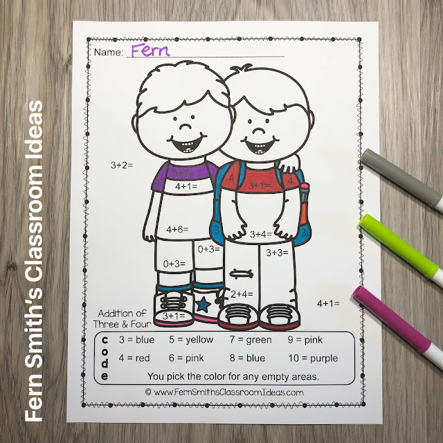 Click Here to Get My Back to School Color By Number Addition Resource