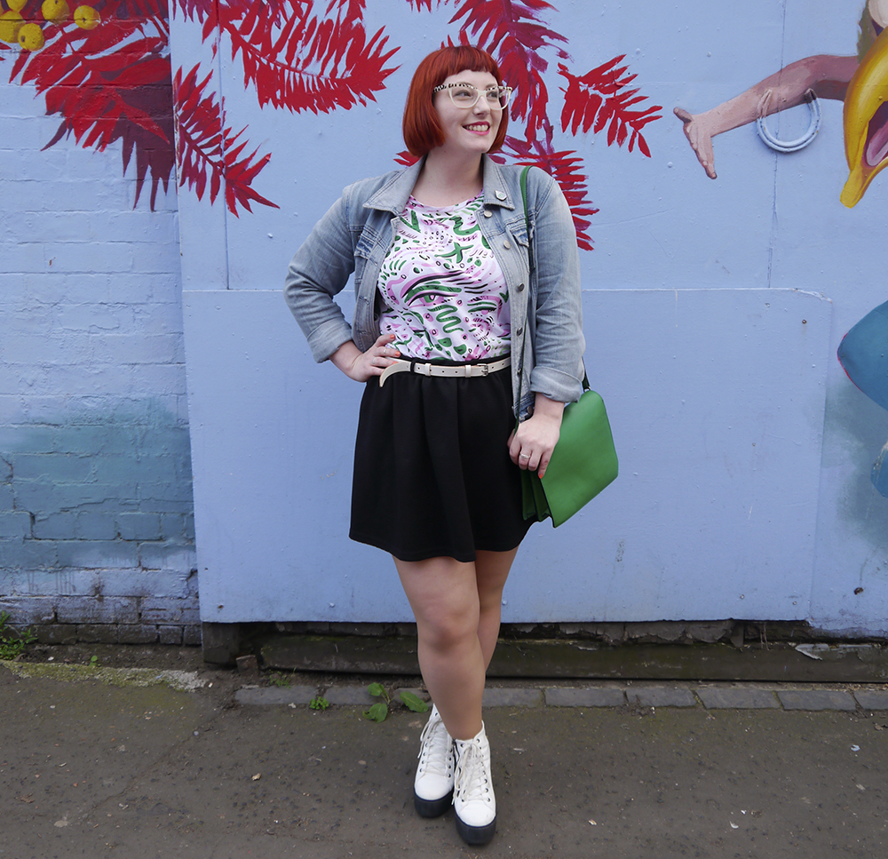 Wardrobe Conversations, styled by, Scottish Blogger, Edinburgh blogger, red hair, ginger bob, girl with glasses, Spex pistol glasses, Monki patterened tshirt, bright patterened tshirt, bright green handbag, black skater skirt, white lace up boots, Edinburgh street style, Jewellery club, cactus jewellery, cacti jewellery, plant jewellery, subscription box, jewellery subscription box, illustrated jewellery, denim jacket, Kirsty Whiten, Kirsty Whiten Street art, street art Edinburgh