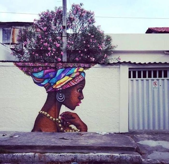 mural blossoming sweet women turban