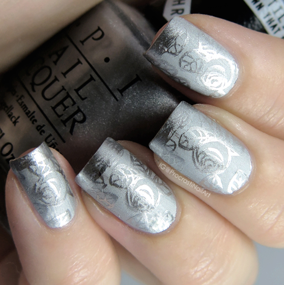 Silver Chrome on Chrome Stamping Nail Art