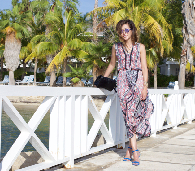 Standing on pier in Caribbean in Jamaica wearing Parker Lota dress