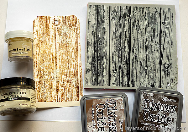 Layers of ink - Mushroom Forest Tag Tutorial by Anna-Karin Evaldsson. Stamp with Simon Says Stamp Wood Plank Background.