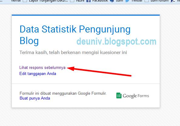 tampilan halamann setelah mengisi google form