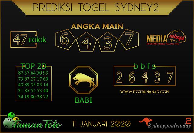 Prediksi Togel SYDNEY 2 TAMAN TOTO 11 JANUARI 2020