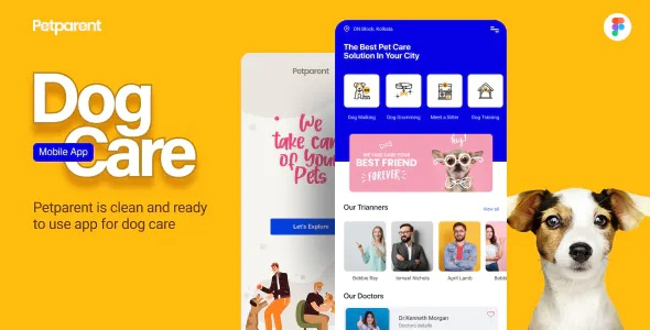 Best Dog Care Mobile App and Landing page Teplate