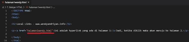 Contoh Hyperlink Local