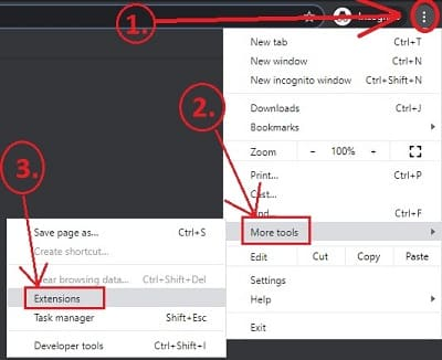Extension option on Chrome Browser