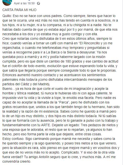 Carta del Padre de Juan Carlos Aragón a su hijo