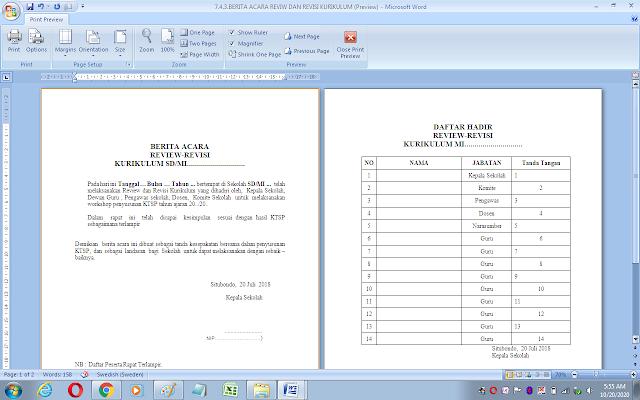 Berita acara review dan revisi kurikulum sekolah/madrasah