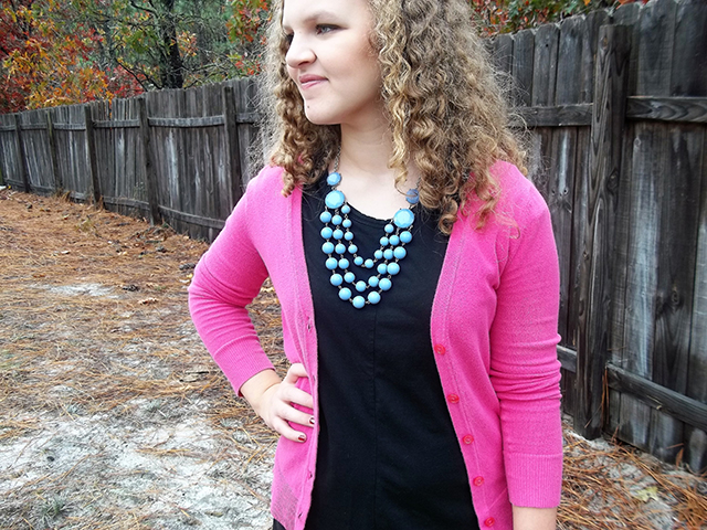 dressember elegantees crochet black lace dress leopard flats pink cardigan periwinkle bauble necklace Thursday Moda link up coupon code outfit style fashion inspiration