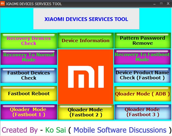 Xiaomi Device Tool – Recovery Cheks/Pattern Password Remove/Recovery to Password