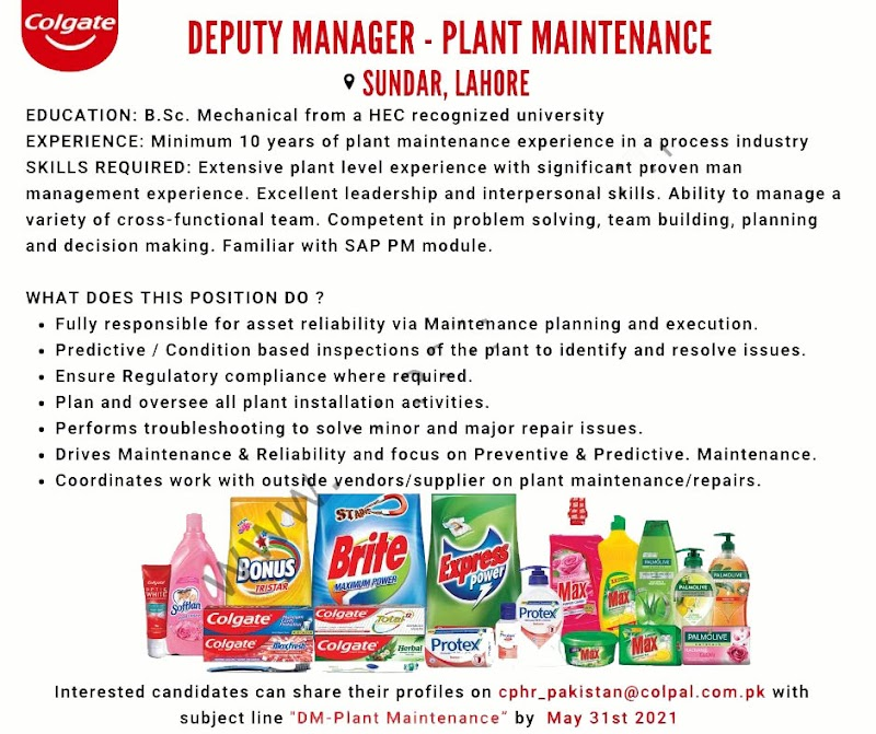 Latest Jobs in Colgate Palmolive Pakistan Limited 2021