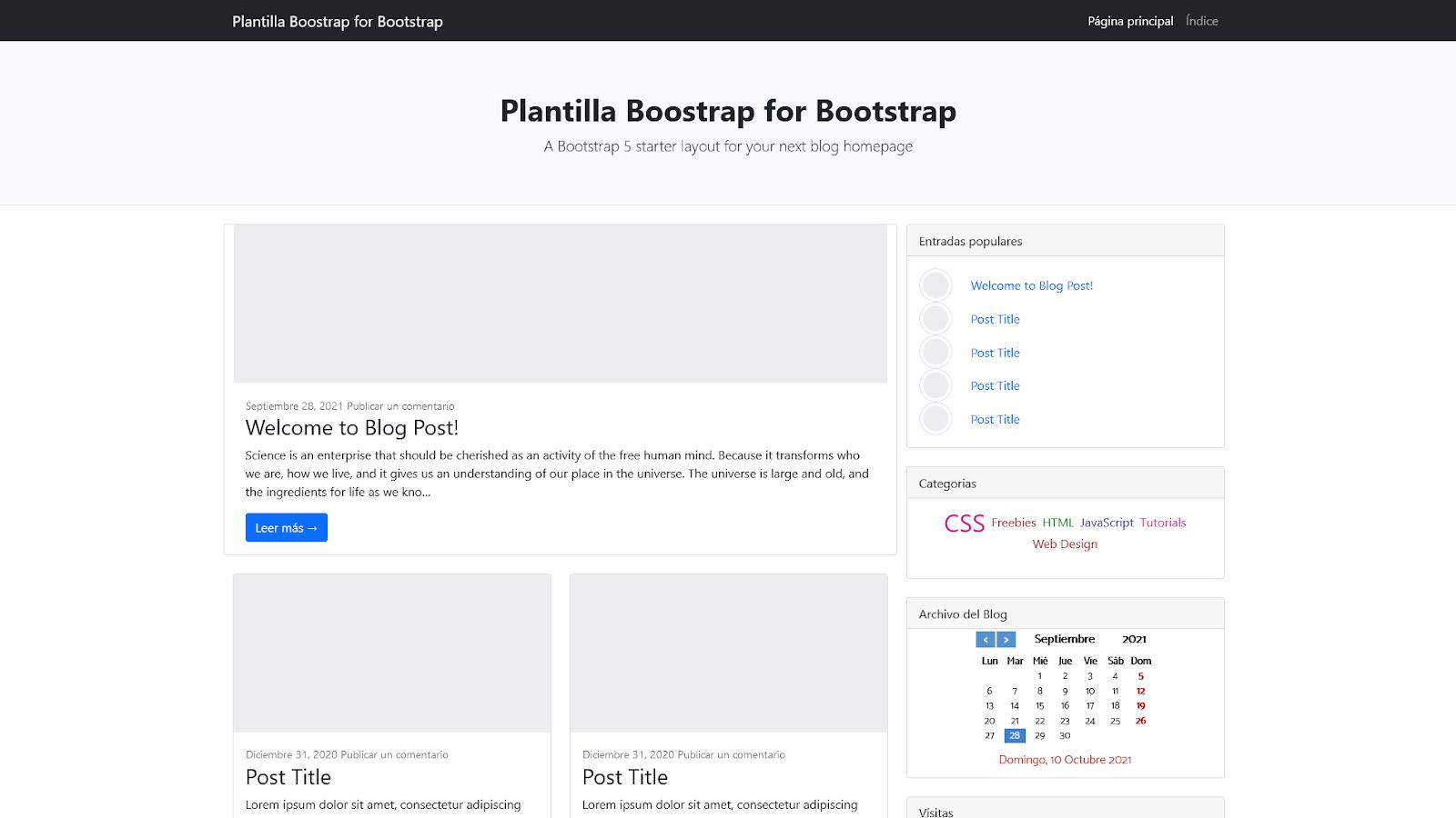 Plantilla Bootstrap para Blogger