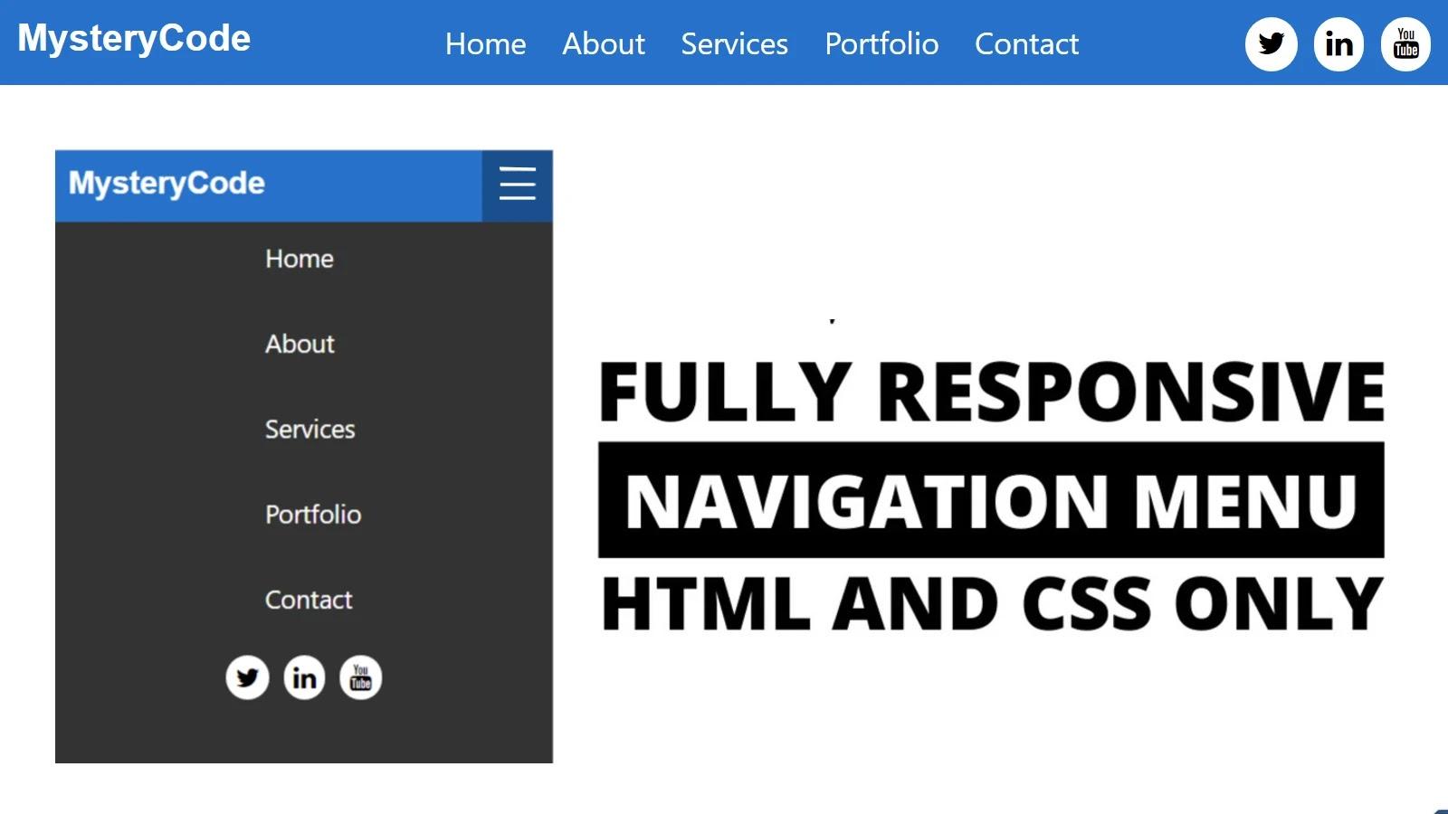 Responsive Top Navigation Menu Using HTML & CSS