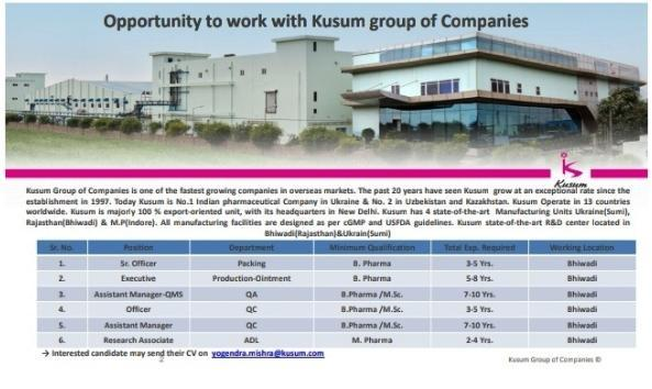 Kusum Healthcare Ltd – Job Opportunity for Production, Packing, QA, QC, ADL | Apply CV Now