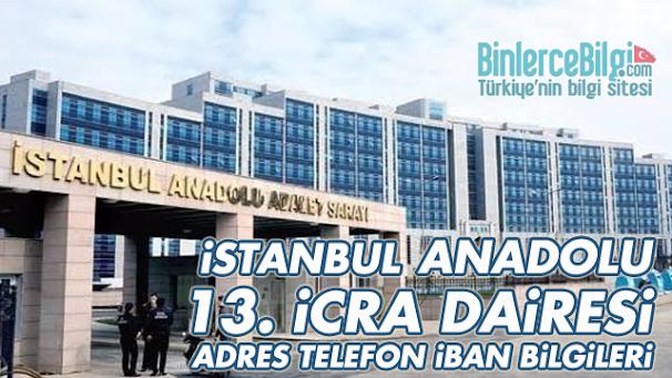 İstanbul Anadolu 13. İcra Dairesi Adresi, Telefonu, İBAN Numarası