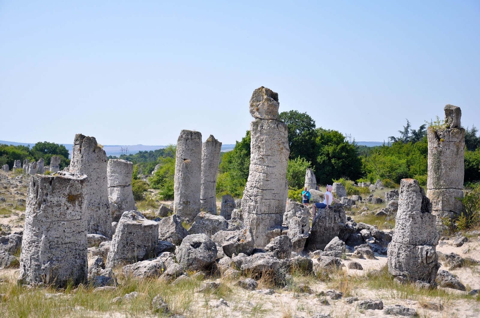 Mighty pillars with the Fertility stone in the middle, The Stone Forest, Varna, Bulgaria
