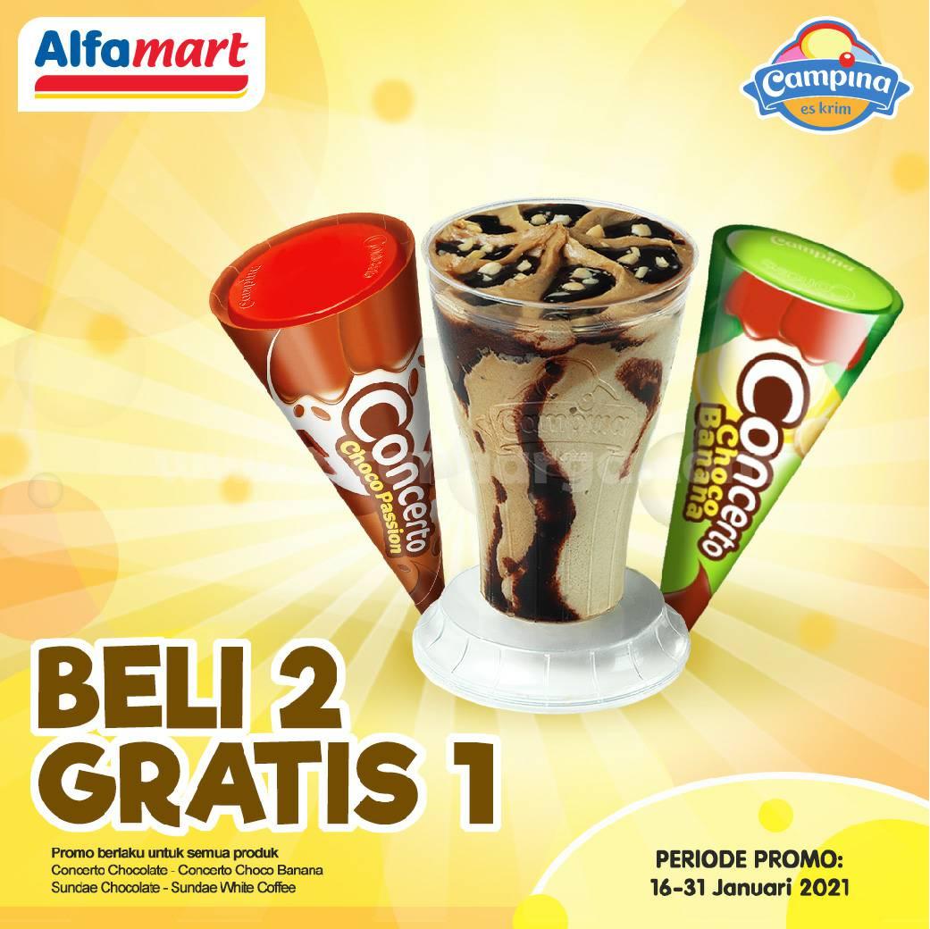 ALFAMART Promo BELI 2 GRATIS 1 Es Krim Campina Concerto