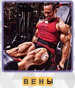 мужчина занимается на тренажерах таким образом, что видны вены на ногах и руках