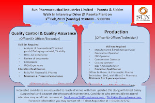 Walk in interview@ sun pharma for multiple positions on 3 February