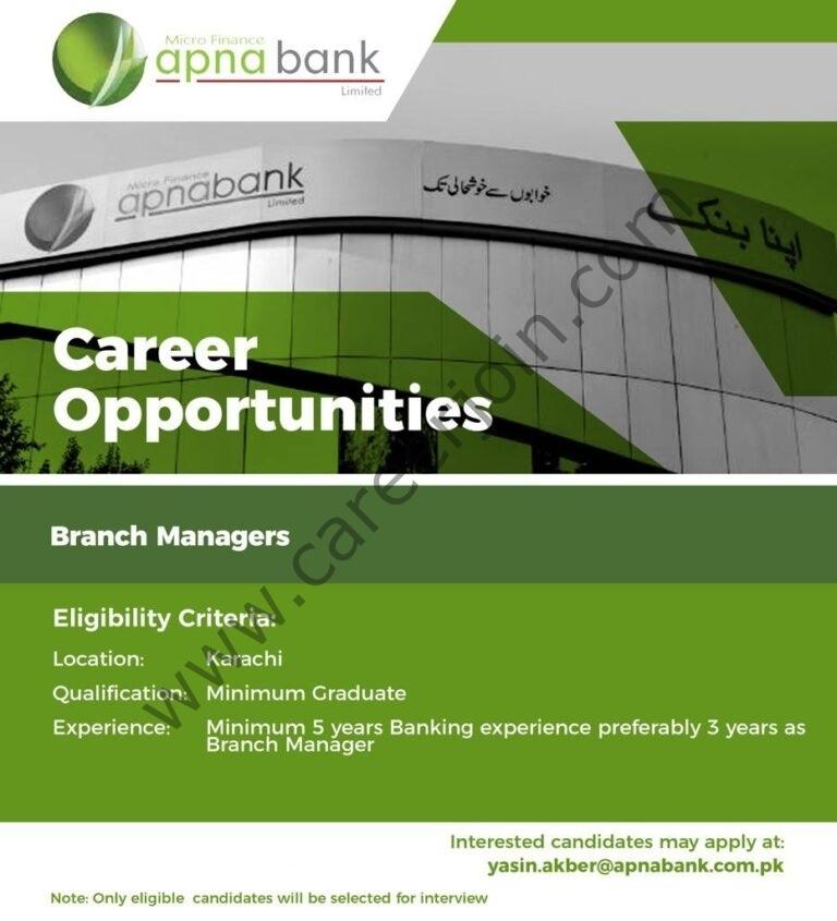 Apna Microfinance Bank Limited Jobs 2021 Apply Online   Banking Jobs in Pakistan 2021