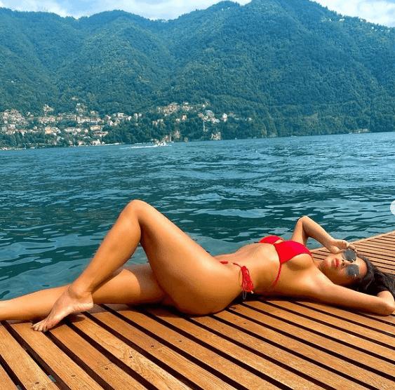 Lake Como, Italy red tiny bikini