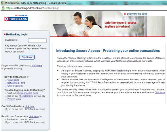 HDFC Bank website vulnerable to ID Theft and Account Blockade