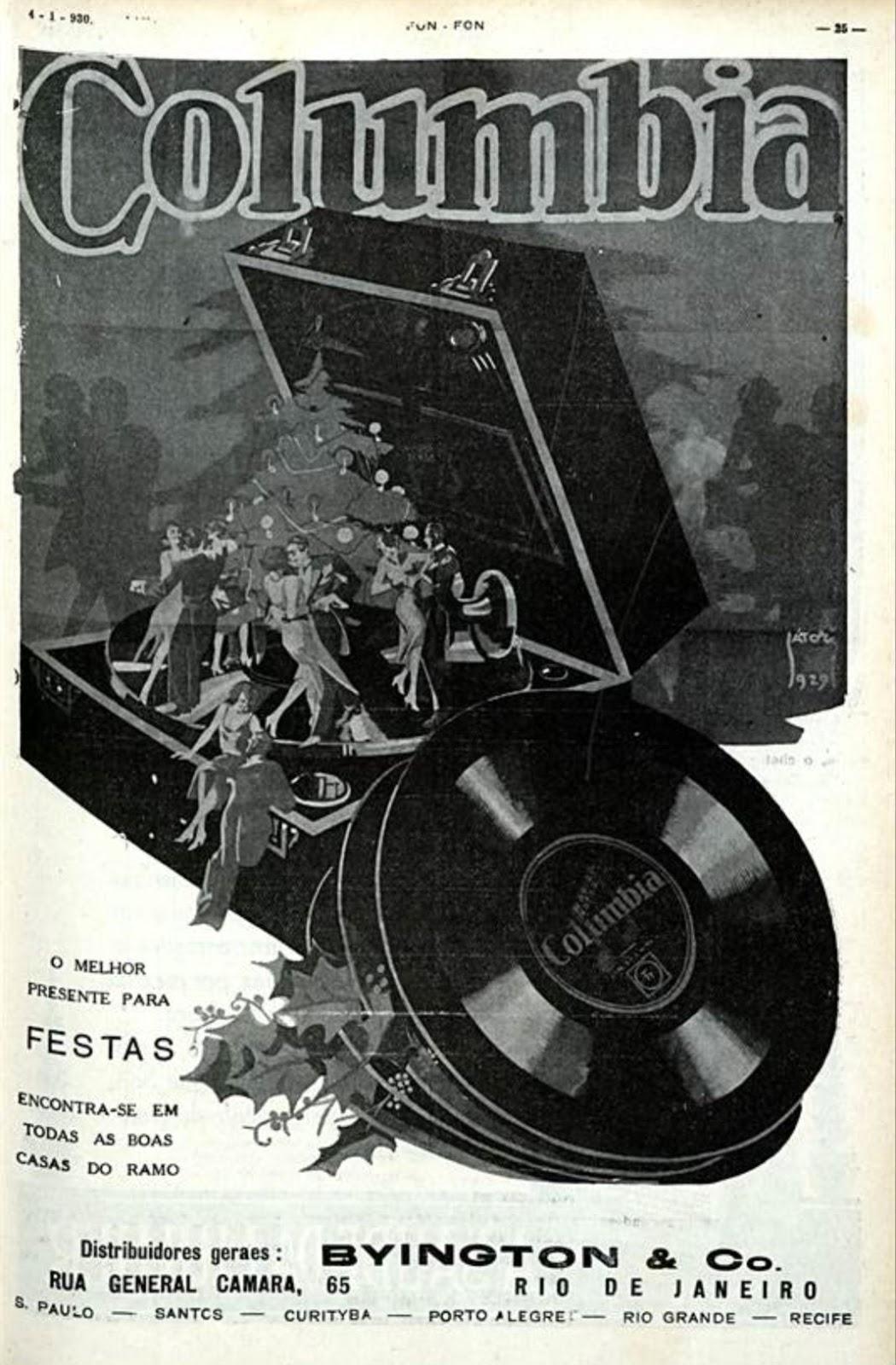 Propaganda antiga da Columbia promovendo seus discos no começo dos anos 30