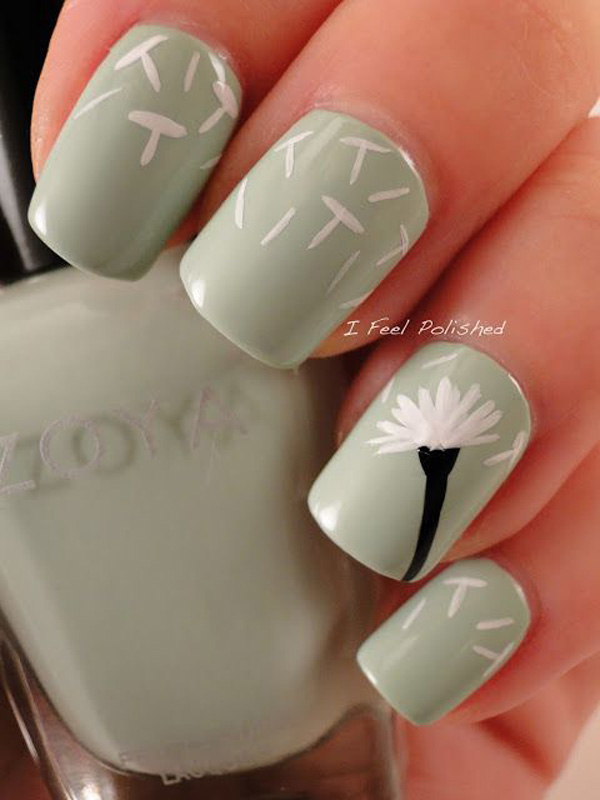 Idea about dandelion nail art 2016 fashion newbys another white background inspired dandelion nail art a black dandelion flower is painted in watercolor style as its petals are drawn flying from one nail prinsesfo Gallery