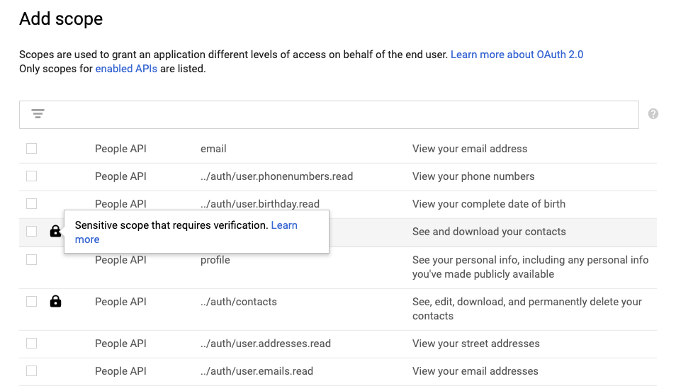 Google Cloud Console's 'Add Scope' to your OAuth client tool and how it highlights sensitive scopes.