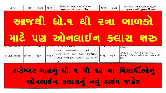 DD Girnar Home Learning New Time Table 2020 [September Month Std 1 to 12]
