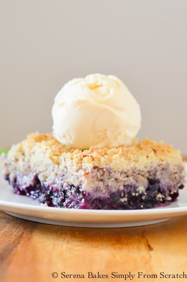 Blueberry Crisp is an easy to make recipe. Perfect for dessert. Great with frozen or fresh blueberries making this a year around favorite from Serena Bakes Simply From Scratch.