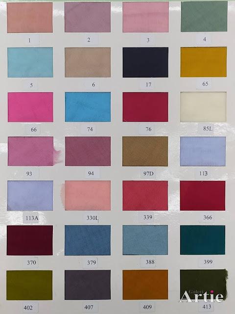 Carta warna voile tudung bawal miyuki kangaroo