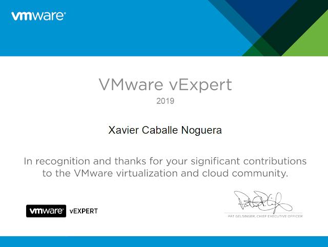 VMWare vExpert 2019 - Certificate.