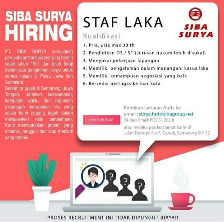 Loker Staff Laka di PT Siba Surya Semarang