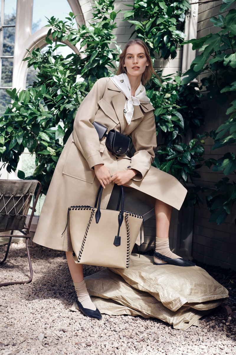 Vanessa Axente models a trench coat in Oroton fall winter 2019 campaign