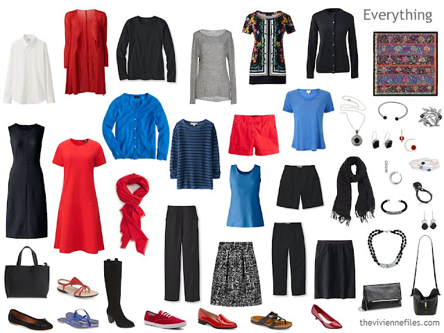 capsule wardrobe in black, white, red and bright blue