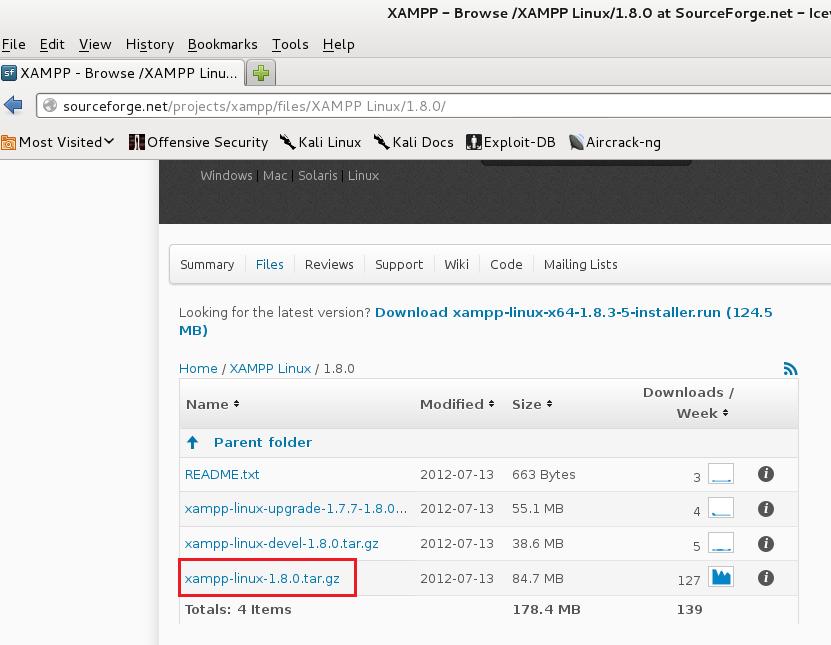 Installing XAMPP in Kali Linux